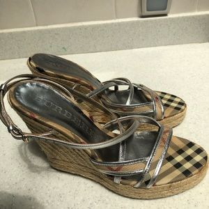 Burberry Wedge Strappy Sandals